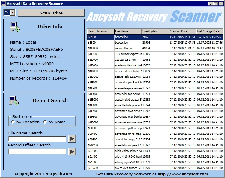 Ancysoft Data Recovery Scanner screen shot